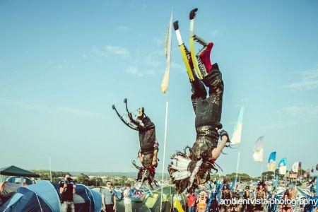 bouncy stilt performers