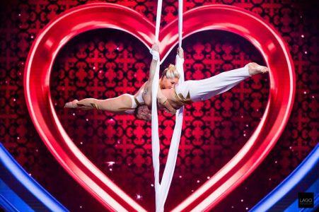 duo aerial silks act  britains got talent