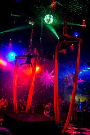 red aerial silks circus time