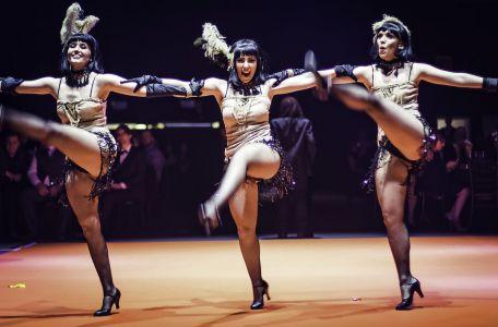twenties girls dancing in a line